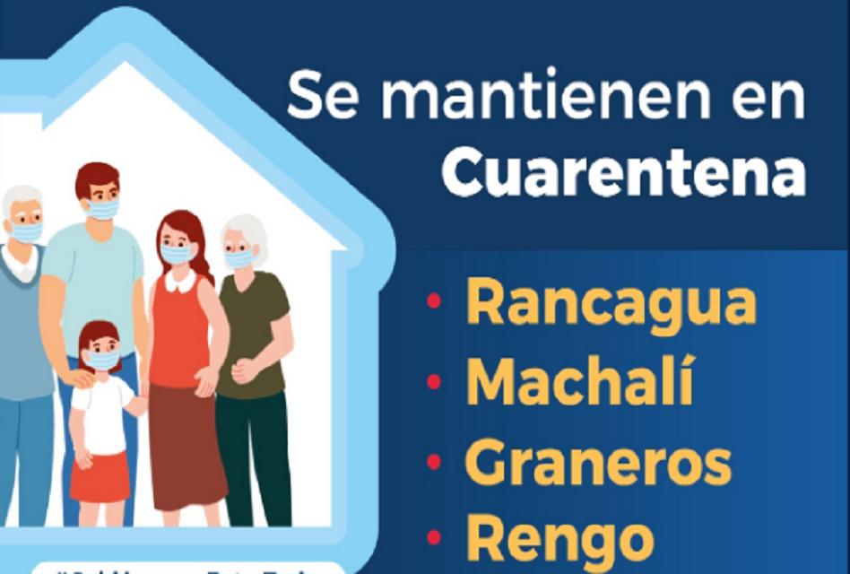 Continúa la cuarentena en Machalí, Rancagua, Graneros y Rengo