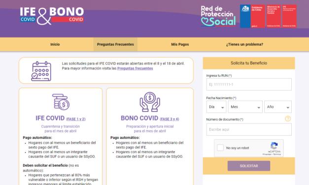 Comienza postulación al IFE y Bono COVID de abril
